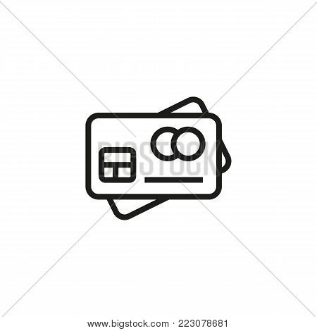 Icon of credit card. Debit, money, payment. Finance concept. Can be used for topics like bank, commerce, buying.