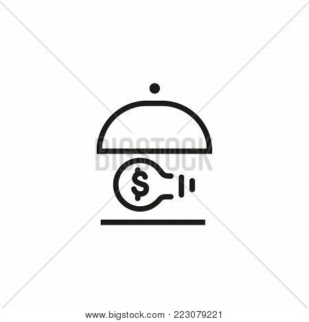 Icon of dish with bulb and dollar symbol. Lamp, money, metaphor. Startup project or innovation concept. Can be used for topics like startup, investment, idea.
