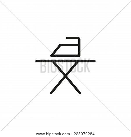Icon of iron and ironing board. Laundry, appliance, equipment. Service concept. Can be used for topics like housekeeping, home appliance, hotel service.
