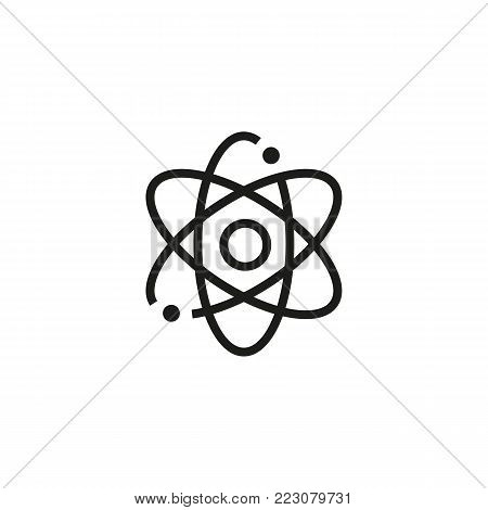 Icon of nuclear power. Atom, molecule, model. Energy industry concept. Can be used for topics like industry, physics, research.