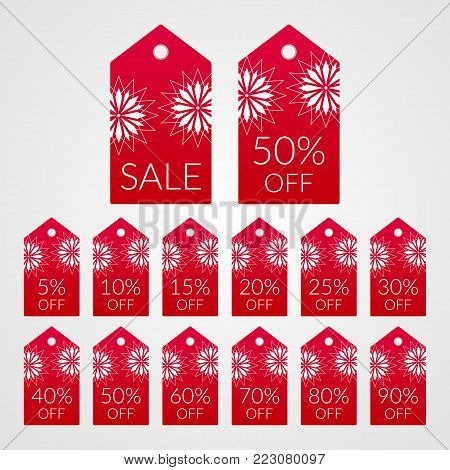 5 10 15 20 25 30 40 50 60 70 80 90 percent off shopping tag vector icons. Isolated red ad white discount symbols for merchandise, store, shop. Illustration labels set for sale.