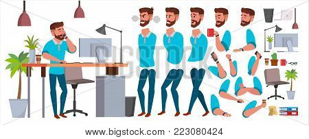 Business Man Character Vector. Working Male. Casual Clothes. Start Up, Office, Creative Studio. Animation Set. Bearded Salesman, Designer. Face Emotions Expressions Isolated Illustration