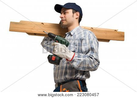 Portrait of a carpenter holding wood planks. Isolated on white