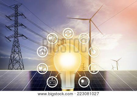 electrical energy with icon, Clean Energy Concept.
