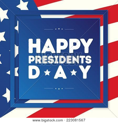 Happy president day banner with american flag background for greeting card, sale, promotion, party poster, stamp, label, tag, decoration, quote, special offer. Vector Illustration