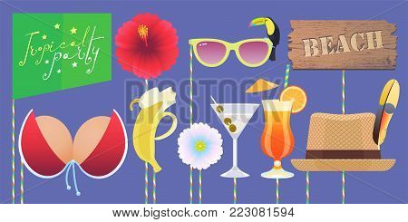 Photo booth printable props collection for tropical party vector illustration. Funny icons for banana, glasses, bikini and other elements for making exotic style photo booth collage