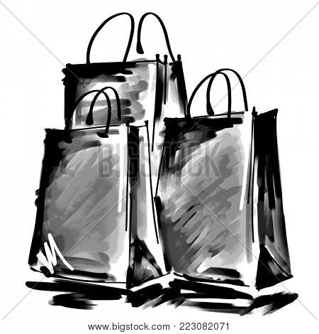 art digital acrylic and graphic painted three grey shopping bags isolated on white background with space for text and label; monochrome black and white 3d