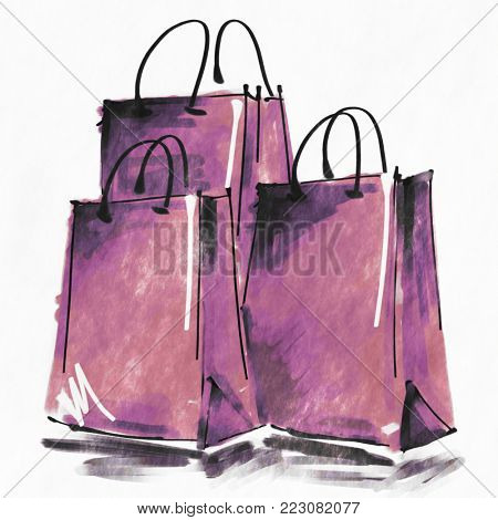 art digital acrylic and watercolor painted three rose lilac shopping bags isolated on white background with space for text and label; colorful 3d