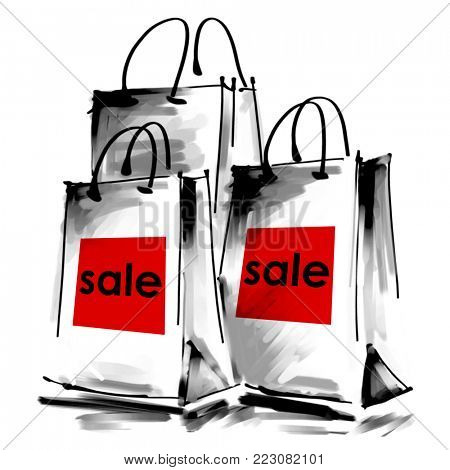 art digital acrylic and watercolor painted three white shopping bags isolated on white background with red label Sale; monochrome 3d