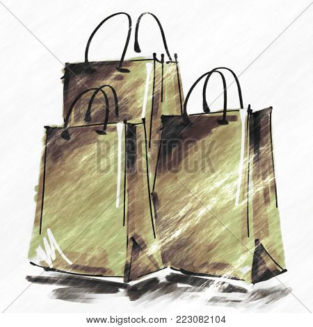 art digital acrylic and graphic painted three gold green shopping bags isolated on white background with space for text and label; colorful 3d