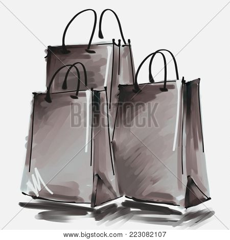 art digital acrylic and watercolor painted three shopping bags isolated on white background with space for text and label; monochrome 3d
