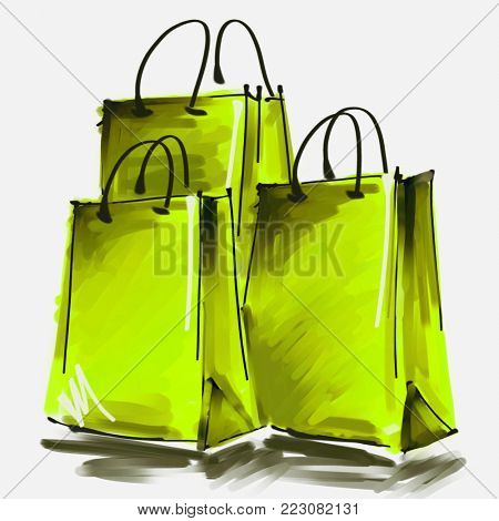 art digital acrylic and watercolor painted three bright yellow green shopping bags isolated on white background with space for text and label; colorful 3d