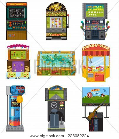 Game machine vector arcade gambling games hunting fishing boxing and dancing where gamesome gambler or gamer play in gaming computer machinery illustration isolated on white background.