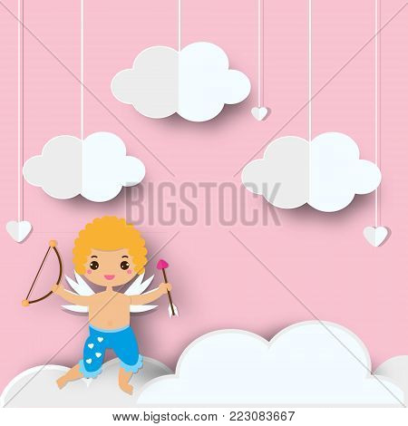 Cute Cupid boy with arrows standing on clouds in heaven. Background in paper cut, paper craft style for St Valentines day and love, romantic events