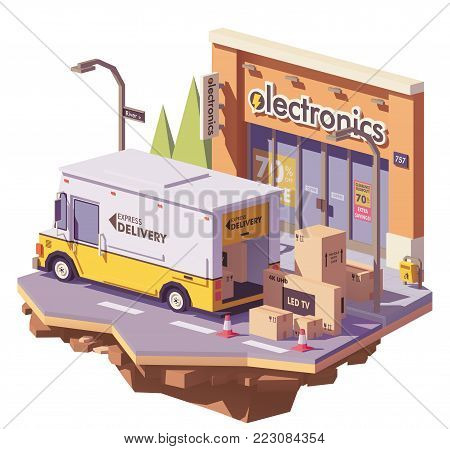 Vector low poly delivery service multi-stop truck loading with electronics in cardboard boxes in front of electronics store