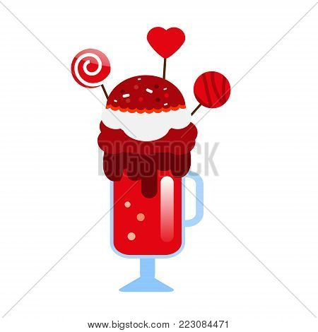 Monster shake with cake pops and candies. Giant milkshake. Vector icon