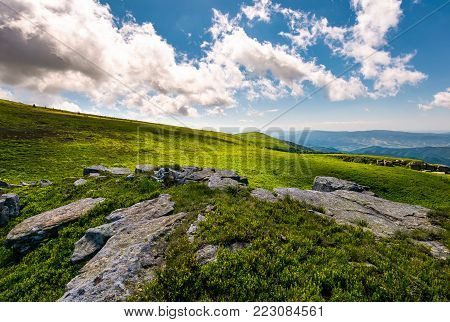 boulders on a grassy hillside in summer. beautiful mountainous landscape in wonderful weather condition