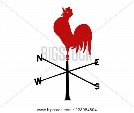 Vector red rooster. The emblem of the New Year according to the Chinese calendar. Image of symbol zodiac.