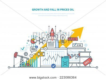 Concept of oil crisis. Dynamics growth and fall in prices oil, sale. Oil industry, pipe, gasoline tank, industrial plant. Extraction and transportation of resources. Illustration thin line design.