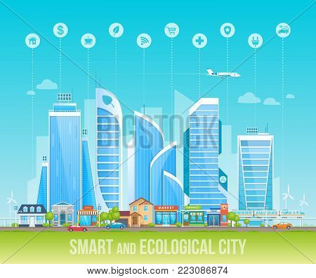 Smart and ecological friendly city. Cityscape, urban landscape. City buildings, high-rise, skyscrapers, business centers. Real estate urban architecture, solar batteries. Vector illustration.