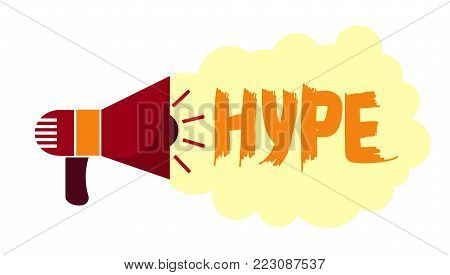 hype in social networks. trends in advertising and news. horn symbol Public Relations. Vector