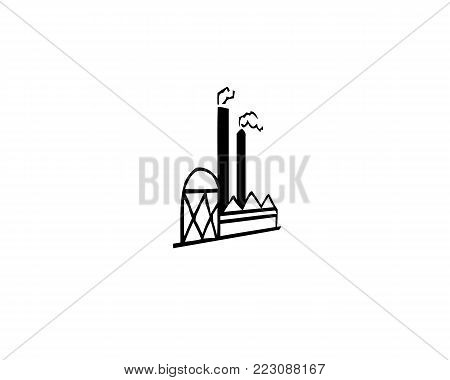 Industrial building icon factory iconic symbol on white background. Vector singular design.