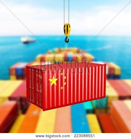 Cargo shipping container with the Chinese flag Сoncept of delivery from China on storage area background 3d