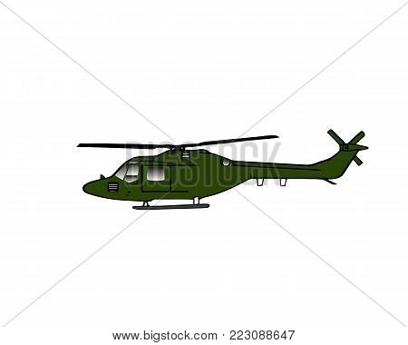 Helicopter silhouette isolated in black and green colors. Vector military helicopter logo icon on white background.