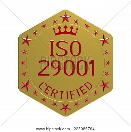 ISO 29001 standard, requirements for the petroleum, petrochemical and natural gas industries, 3D render, isolated on white