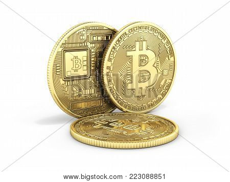 Bitcoin 3D isometric Physical bit coin in gold Digital currency Cryptocurrency Golden coins with symbol isolated on white background 3d render illustration