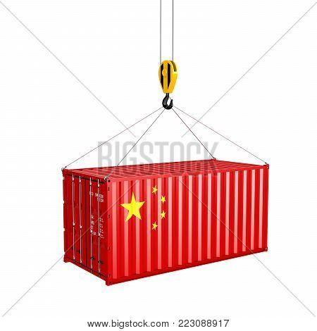 Cargo shipping container with the Chinese flag Сoncept of delivery from China on white background 3d