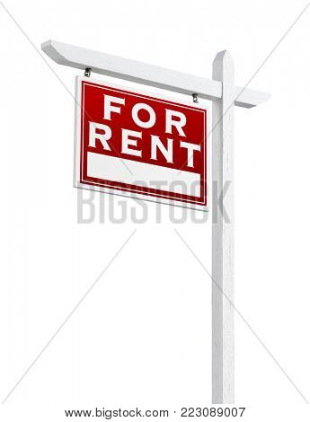 Left Facing For Rent Real Estate Sign Isolated on a White Backgound.