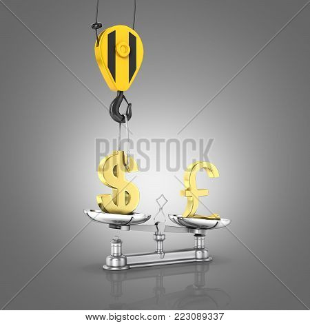 Concept of exchange rate support dollar vs pound The crane pulls the dollar up and lowers the pound sterling on grey gradient background 3d