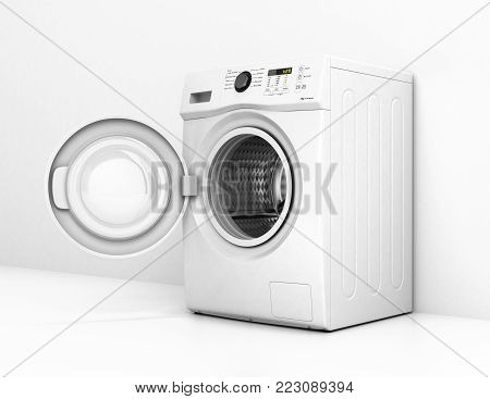 Washing machine with an open door on a white wall background 3d illustration