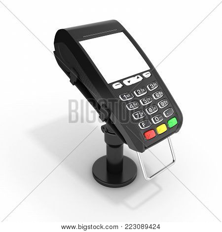 card payment terminal POS terminal with empty screen isolated on white background 3d render