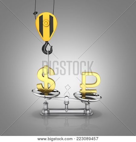 Concept of exchange rate support dollar vs ruble The crane pulls the dollar up and lowers the ruble on grey gradient background 3d