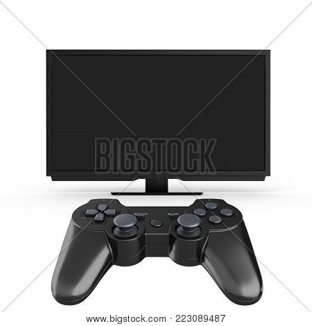 Game concept on the console Illustration of joystick on TV background 3d render