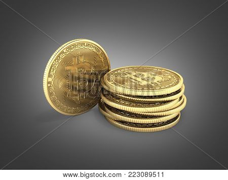 Bitcoin Pile of coins 3D isometric Physical bit coin in gold Digital currency Cryptocurrency Golden coins with symbol isolated on dark grey gradient background 3d render illustration