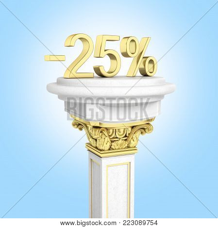 Gold text 25 percent off standing on the pedestal isolated on blue gradient background 3D render