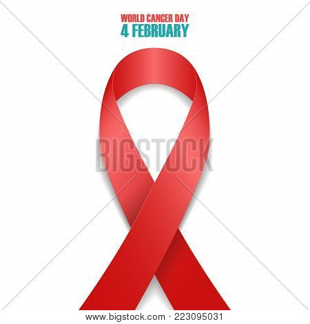 World Cancer Day, 4 february awareness day symbol. Realistic red ribbon on white background. Vector illustration.