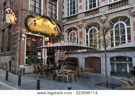Brussels, Belgium - November 19, 2016: People Visit Brussels Restaurant Area With Christmas Decorati