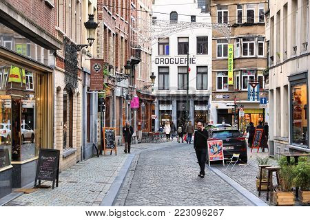 Brussels, Belgium - November 19, 2016: People Visit Brussels Old Town. Brussels Is The Capital City