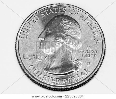 United States quarter dollar coin isolated on white.