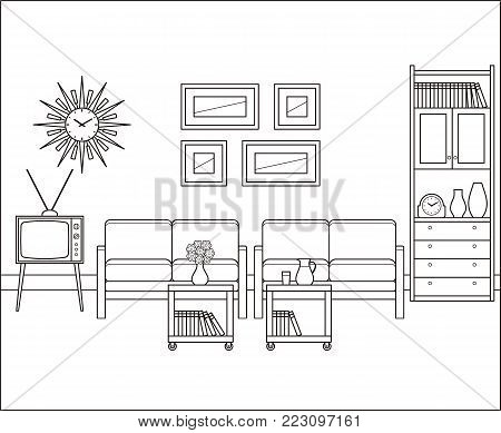 Living room in flat design. Retro room interior in line art. Linear illustration. Vector graphics. Thin line vintage home space with sofa, TV and cupboard. House equipment 60s. Black, white furniture.