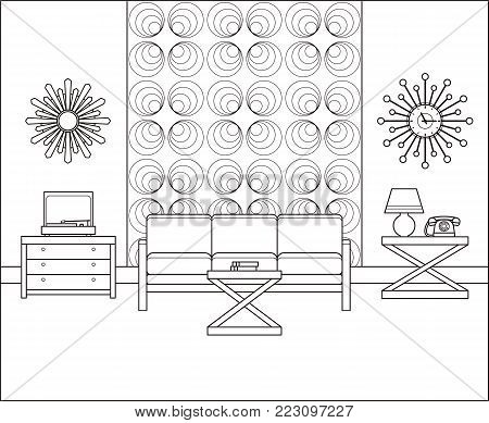 Room in flat design. Linear retro living room interior 60s in line art. Vector graphics. Thin line vintage home space with couch, turntable, telephone. Black and white furniture 70s. Outline sketch.