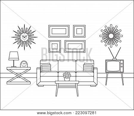 Retro room interior in flat design. Living room in line art. Linear vintage illustration. Vector graphics. Thin line home space with sofa, TV. House equipment 60s. Outline sketch with furniture 70s.