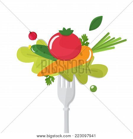 Vegetables sticked on fork. Healthy eating concept. Vector illustration.