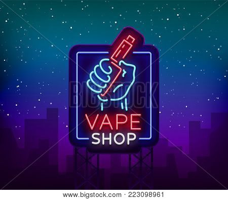 Vape shop neon sign, billboard. Vector illustration. Neon sign, a night glowing banner selling electronic cigarettes, night advensing vape store.