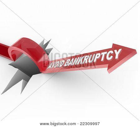 An arrow jumps over a hole, with the words Avoid Bankruptcy imploring you to beat the odds and overcome your budget challenges to remain financially successful and solvent
