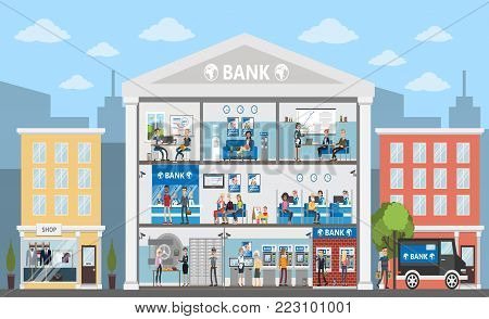 Bank building interior. City building in urban landscape. Bank offices with people.